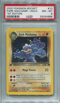 Pokemon Team Rocket 1st Edition Single Dark Machamp 10/82 - PSA 8  *25054688*