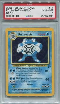 Pokemon Base Set 2 Single Poliwrath 15/130 - PSA 8  *25054793*
