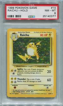Pokemon Base Set 1 Single Raichu 14/102 - PSA 8  *25140377*