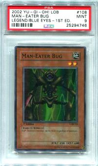 Yu-Gi-Oh Blue Eyes White Dragon 1st Edition Single Man-Eater Bug  -  PSA 9