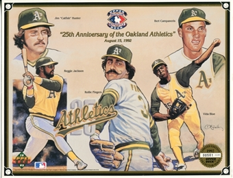 1992 Upper Deck Oakland A's 25th Anniversary Commemorative Sheet Lot of 10
