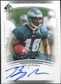 2003 Upper Deck SP Authentic #233 Billy McMullen RC Autograph /1200