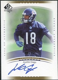 2003 Upper Deck SP Authentic Gold #232 Justin Gage Autograph /25
