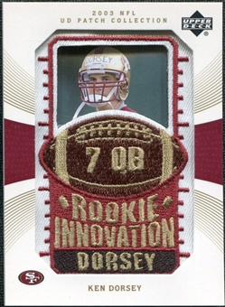 2003 Upper Deck UD Patch Collection Gold Patches #127 Ken Dorsey RC /25