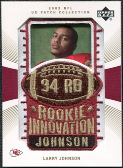 2003 Upper Deck UD Patch Collection Gold Patches #138 Larry Johnson RC /25