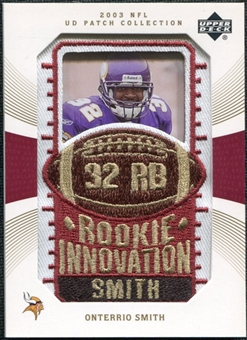 2003 Upper Deck UD Patch Collection Gold Patches #141 Onterrio Smith RC /25