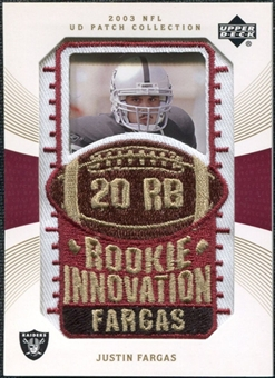2003 Upper Deck UD Patch Collection Gold Patches #142 Justin Fargas RC /25