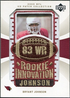 2003 Upper Deck UD Patch Collection Gold Patches #143 Bryant Johnson RC /25