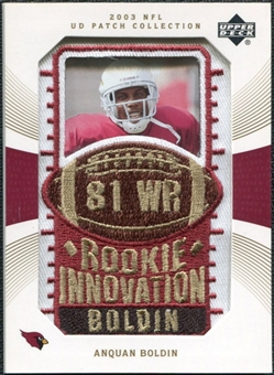 2003 Upper Deck UD Patch Collection Gold Patches #147 Anquan Boldin RC /25