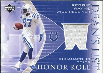 2003 Upper Deck Honor Roll Dean's List Jersey #DLRW Reggie Wayne