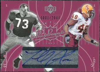 2003 Upper Deck Pros and Prospects #137 Terrell Suggs RC / Leo Nomellini Autograph /2000