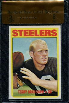 1972 Topps Football #150 Terry Bradshaw Beckett Raw Card Review 8 *6959