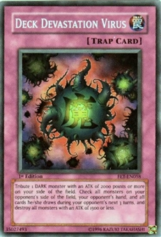 Yu-Gi-Oh Flaming Eternity Single Deck Devastation Virus Super Rare (FET-058) - HEAVY PLAY (HP)