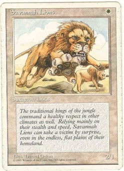 Magic the Gathering 4th Edition Single Savannah Lions MODERATE PLAY (VG/EX)