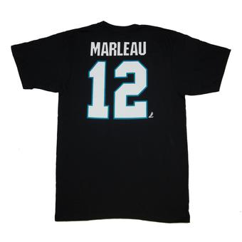 San Jose Sharks #12 Patrick Marleau Reebok Black Name & Number Tee Shirt (Adult L)