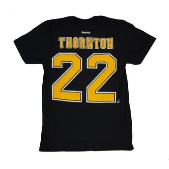 Boston Bruins #22 Shawn Thornton Reebok Black Name & Number Tee Shirt