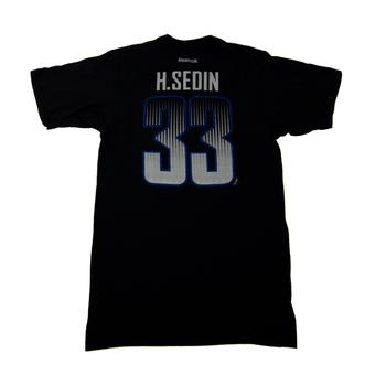 Vancouver Canucks #33 Henrik Sedin Reebok Black Name & Number Tee Shirt (Adult M)