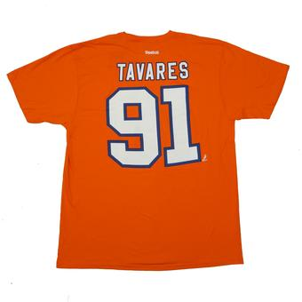 New York Islanders #91 John Tavares Reebok Orange Name & Number Tee Shirt (Adult L)