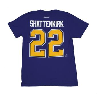 St. Louis Blues #22 Kevin Shattenkirk Reebok Blue Name & Number Tee Shirt (Adult S)