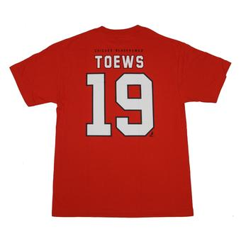 Chicago Blackhawks #19 Jonathan Toews Reebok Red Name & Number Tee Shirt (Adult M)