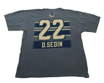 Vancouver Canucks #22 Daniel Sedin Reebok Blue Pigment Player Tee Shirt (Adult XL)