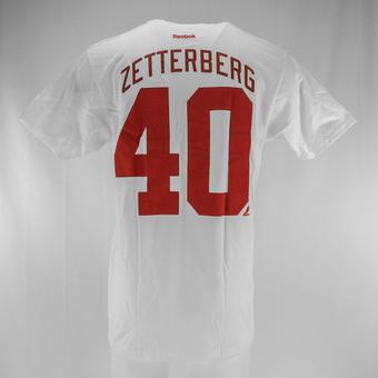 Detroit Red Wings #40 Henrik Zetterberg Reebok White Name & Number Tee Shirt (Adult L)