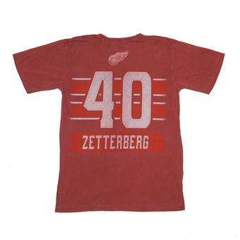 Detroit Red Wings #40 Henrik Zetterberg Reebok Red Pigment Player Tee Shirt (Adult M)