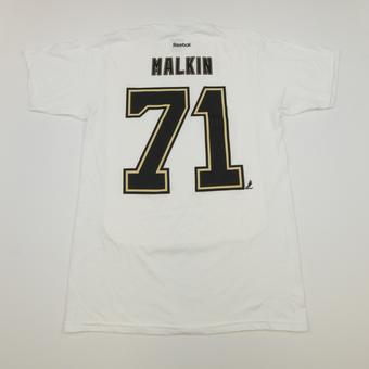 Pittsburgh Penguins #71 Evgeni Malkin Reebok White Name & Number Tee Shirt (Adult M)
