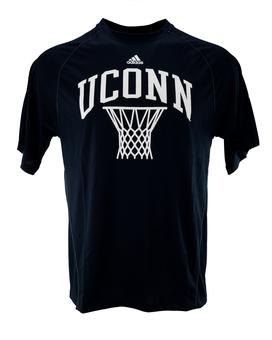 UConn (Connecticut) Huskies Adidas Navy Climalite Performance Tee Shirt (Adult L)