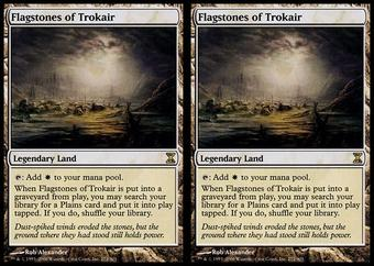 Magic the Gathering Time Spiral 2x LOT Flagstones of Trokair - SLIGHT PLAY (SP)