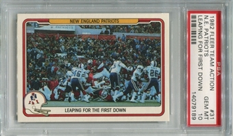 1982 Fleer Team Action #31 New England Patriots PSA 10 Gem Mint *9189