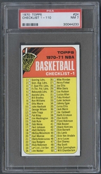 1970/71 Topps Basketball #24 Checklist PSA 7 (NM) *4233