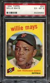1959 Topps Baseball #50 Willie Mays PSA 6 (EX-MT) *5653