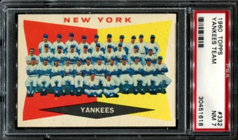 1960 Topps Baseball #332 Yankees Team PSA 7 (NM) *1618