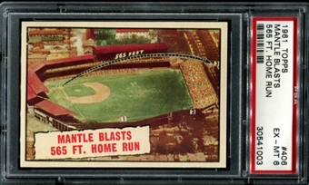 1961 Topps Baseball #406 Mantle Blasts 565 Ft. Home Run PSA 6 (EX-MT) *1003