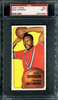 1970/71 Topps Basketball #92 Gus Johnson PSA 7 (NM) *2599