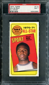 1970/71 Topps Basketball #110 Willis Reed All Star PSA 7 (NM) *2655
