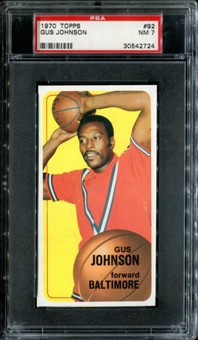 1970/71 Topps Basketball #92 Gus Johnson PSA 7 (NM) *2724