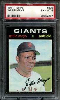 1971 Topps Baseball #600 Willie Mays PSA 6 (EX-MT) *2207