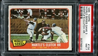 1965 Topps Baseball #134 WS Game 3 Mantle's HR PSA 7 (NM) *4910
