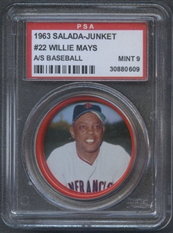 1963 Salada-Junket Baseball Coin #22 Willie Mays PSA 9 (MINT) *0609