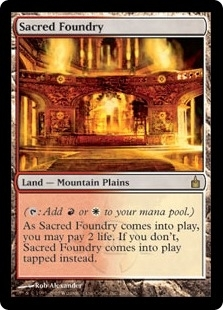 Magic the Gathering Ravnica Single Sacred Foundry Foil - MODERATE PLAY (MP) ARTIST SIGNED!