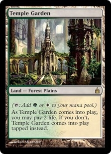 Magic the Gathering Ravnica Single Temple Garden MODERATE PLAY (VG/EX)