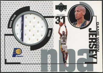 1998/99 Upper Deck Game Jerseys #GJ3 Reggie Miller White & Navy