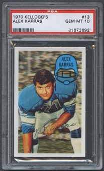 1970 Kellogg's Football #13 Alex Karras PSA 10 (GEM MT) *2692
