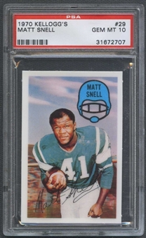 1970 Kellogg's Football #29 Matt Snell PSA 10 (GEM MT) *2707