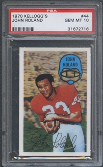 1970 Kellogg's Football #44 John Roland PSA 10 (GEM MT) *2716