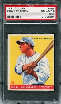 1933 Goudey Baseball #184 Charley Berry PSA 8 (NM-MT) *8591