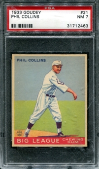 1933 Goudey Baseball #21 Phil Collins PSA 7 (NM) *2463