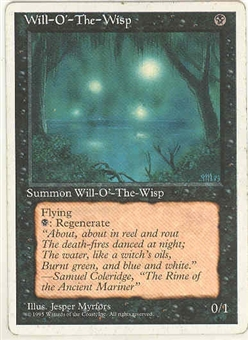 Magic the Gathering 4th Edition Single Will-o'-the-Wisp LIGHT PLAY (NM)